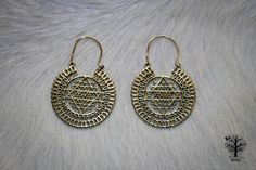 Sri Yantra Brass Mandala Hoops, Large Brass earrings, Tribal jewellery, Tribal earrings, Indian style, boho earrings, Sacred geometry