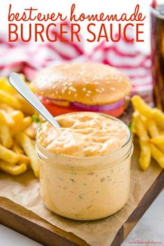 This Best Ever Homemade Burger Sauce is creamy, tangy, and makes the perfect addition to any homemade burger. It's easy to make in minutes with ingredients you probably already have in your kitchen, and it's better than any restaurant or store-bought burger sauce! Recipe from thebusybaker.ca! #burgers #homemade #burgersauce #condiments #homemade #grilling #summer #frysauce #frenchfries Burger Sauces Recipe, Burger Recipes, Sauce Recipes, Beef Recipes, Cooking Recipes, Recipies, Great Recipes, Favorite Recipes, Recipes Dinner