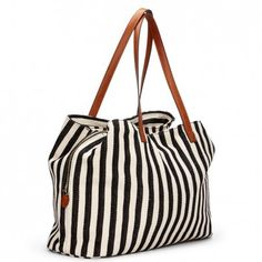 Roomy black & white striped fabric tote bag