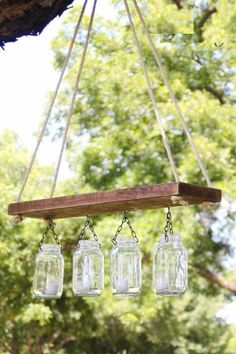 Outdoor DIY Mason Jars Chandelier