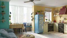 Decorando com a Si : Um apê com ares de casa da vovô Ares, House Tours, Mid-century Modern, Kitchen Cabinets, Behance, Mid Century, Table, Furniture, Vintage