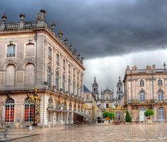 ♕ Stanislas Square and Cathédrale Notre-Dame-de-l'Annonciation de Nancy in the distance ~ Lorraine, France