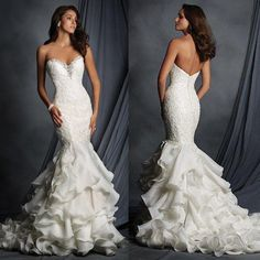 Charming Sweetheart Lace Beaded Sexy Mermaid White Chiffon Wedding Dresses, WD0181 The wedding dresses are fully lined, 4 bones in the bodice, chest pad in the bust, lace up back or zipper back are al