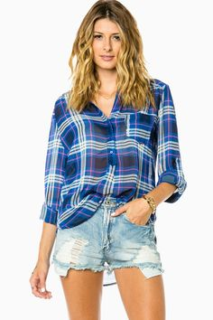 Corin Plaid Blouse in Blue / ShopSosie #blue #plaid #chiffon #blouse #shopsosie #sosie
