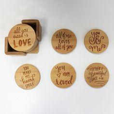 "Bamboo Coaster Set ""Love Sayings Calligraphy"""