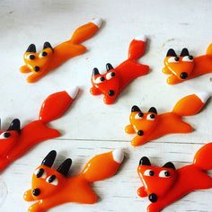 Fused glass fox brooches £28