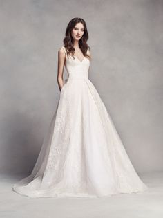 Pleated V-Neck Tank A-line Wedding Dress by WHITE by Vera Wang available at David's Bridal