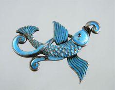 Vintage-Margot-De-Taxco-Sterling-Silver-Enamel-Blue-FISH-Brooch