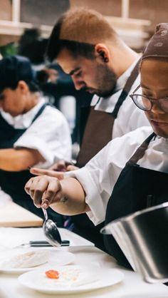 Restaurant Interior Design, Open Kitchen, Food Presentation, Fine Dining, Meals, Meal, Food, Food Plating