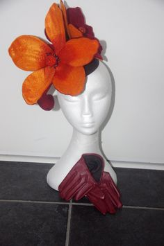 Designer fascinator one of a kind. Burgundy & Orange felt flower on black base Couture Hat fascinator hand sewn races, fashions on the feild by DesignerFascinators on Etsy Fascinator, Headpiece, Felt Flowers, Hand Sewn, Burgundy, Base, Couture, Orange, Sewing