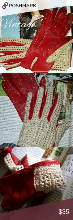 Vintage driving gloves 7.5 It is hard to see the stand but they are 7.5 for sure and these are made in Germany without holes other than once intended. These are in very good vintage condition in macrame and red leather. Price is firm. Vintage Accessories Gloves & Mittens