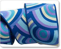 Turquoise and Purple Target Ribbon - Kaffe Fassett