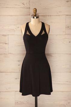 Robe noire trapèze sans manches détails filet - Black dress a-line sleeveless with mesh details