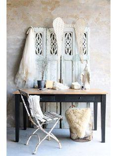 Fransk spisebord / skrivebord - sort - 140cm