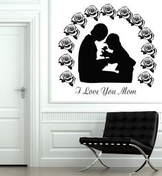 Wall Decal Quote Vinyl Sticker Decal Art Home Decor Mural Decals Quotes I Love You Mom Baby Mother Flowers Rose Mother's Day MS263