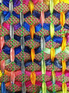 Beautiful, honeycomb-like sampler. Wonderful for highlighting novelty yarns, like ribbon yarn, handspun bulky art yarns, or sari silk.