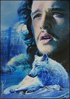 Jon Snow and Ghost  ~ Game of Thrones by DavidDeb.deviantart.com on @deviantART