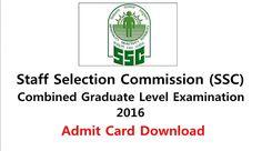 Download SSC CGL Admit Card 2016 – All Region
