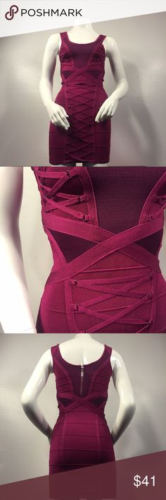 💘VDAY SPECIAL💘 Criss Cross Lace-up Bandage Mini Beautiful deep fuschia cross cross lace-up bandage mini by Bebe. Never worn, no flaws. Absolutely PERFECT dress for Valentine's Day, whether you're an XS or small because it stretches to fit. Hides all flaws and accentuates perfect areas of the body. You'll fall in love with this beauty 🍾✨💕 bebe Dresses Mini
