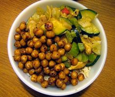 brown rice bowl with vegetables & roasted chickpeas