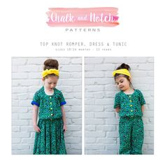 The Top Knot pattern offers 2 romper lengths, 2 dress lengths and a tunic length. All views have a long sleeve option. You can create a… Tunic Sewing Patterns, Kids Clothes Patterns, Sewing Patterns For Kids, Sewing For Kids, Clothing Patterns, Kids Clothing, Hoodie Pattern, Tunic Pattern, Cute Pattern