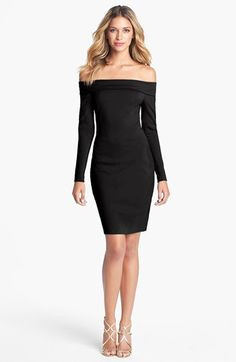 Halston Heritage Off Shoulder Ponte Knit Sheath Dress available at #Nordstrom