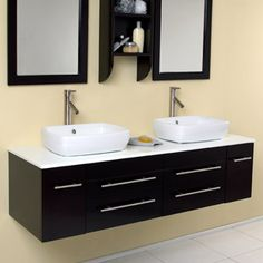 "59"" Bellezza Double Vessel Sink Vanity - Espresso"