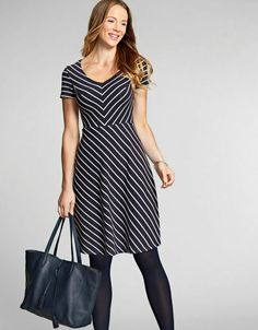 f7e2ae9fc58 Bravissimo A-Line Stripe Dress Navy/White Size UK 10 rrp 49 DH172 AA