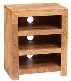 Solid Light Mango Wood Dakota Living HI-FI Cabinet Indian Furniture