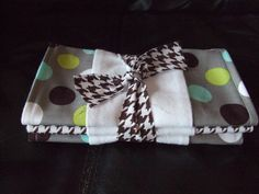 Brown & Teal Polka Dot Burp Cloth by EandLuLu on Etsy,