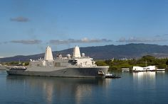 USS New Orleans passes the USS Arizona Memorial. by Official U.S. Navy Imagery, via Flickr