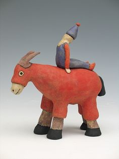 clay ceramic sculpture animal clown by sara swink donkey