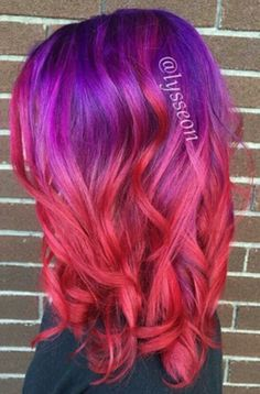 Purple and red ombre dyed hair