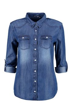 Buy Boohoo Denim Shirt from the Next UK online shop Denim Button Up, Button Up Shirts, Blue Shirt With Jeans, Jean Shirts, Denim Shirts, Latest Tops, Denim Top, Personalized T Shirts, Casual Elegance