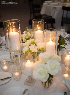 Candlelit Table Settings With White Florals