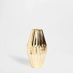 29.99 - Goldene Keramikvase mit Zierfalten - Vasen - Dekoration | Zara Home Deutschland