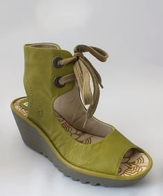 Another great find on #zulily! Pistachio Mousse Leather Yaffa Wedge by FLY London #zulilyfinds