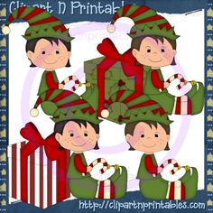 Holiday Elves Boys 3- #Clipart #ResellableClipart #ResellerClipart #Christmas #Elf #Elves #Gifts #Presents #CandyCanes #Boys