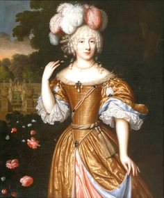 """Unidentified Lady with Fountains in Garden Beyond"" by Pieter Nason (1671)"
