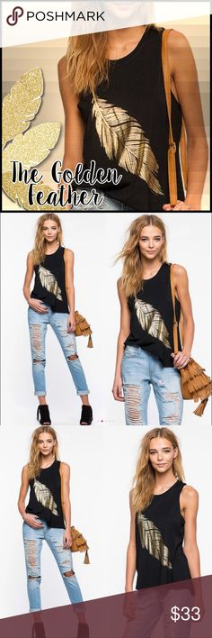 Gold Foil Feather Tee Gold Foil Feather Tee; black tee with gold foil feather design on front. Cotton blend;    Runs small, sizing up is recommended ( however, it does have stretch if in between sizes)  @A3 Boutique Tops