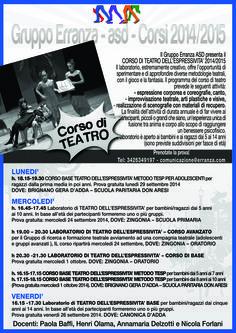 I corsi di teatro del Gruppo Erranza ASD a Canonica d'Adda e a Zingonia