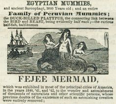 the Fejee Mermaid, detail from advertisement for Boston Museum, 1850
