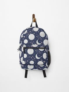 Space, Moon, Stars, Planets, Moonlight Backpack.  Enjoy the moonlight with the clear dark sky.  Watch the planets, moon, and stars as the night goes on.  #moon #moonlight #space #planets #sky #cosmos #giftideas #fashion #homedecor #artsandcrafts #stickers #redbubblestickers #redbubble #art #redbubbleshop #ad @giftsbyminuet Sky Watch, Red Bubble Stickers, Space Planets, Dark Skies, Stars And Moon, Glamping, Cosmos, Moonlight, Fashion Backpack