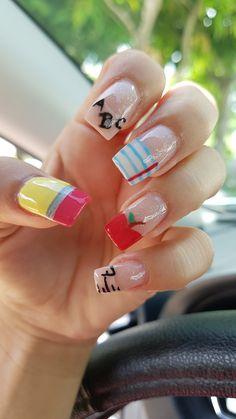 Back to school - School School Nail Art, Back To School Nails, Cute Nail Art, Cute Nails, Pretty Nails, Different Nail Designs, Cool Nail Designs, Princess Nail Designs, Teacher Nails