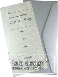 Latte flourish 90th birthday invitation