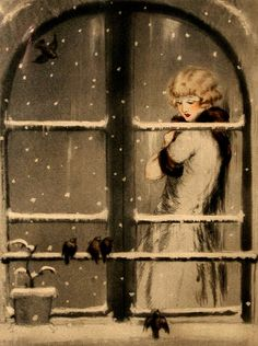 Louis Icart~ The Four Seasons ~ Winter via www.bridgemanart.com (and now I am off, no queue today! xoxo)