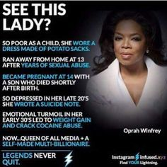 If she can,you can also do it. Winners never quit and quitters never win. #girlpower #inspiration #hustle #Oprah #girl #life