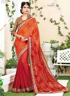 Amazing Red Bandhani Half N Half Sarees http://www.angelnx.com/Sarees/Party-Wear-Sarees
