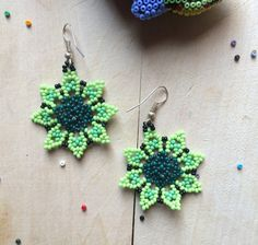 Mexican earrings handmade beaded by huichol ethnic