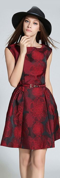 Red Jacquard A Line Dress